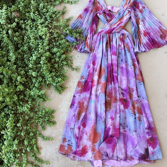 4881c8aa1ea12d Fame and Partners Dresses | Purple Floral Pleated Gown Dress | Poshmark